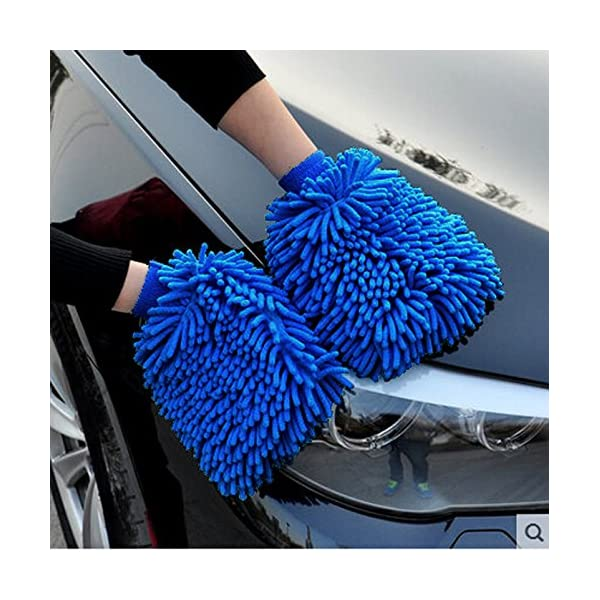 Premium Car Wash Mitt 2 Pack Free Polishing Cloth High Density Ultra Soft Microfiber Wash Glove Lint Free Scratch Free Use Wet Or Dry