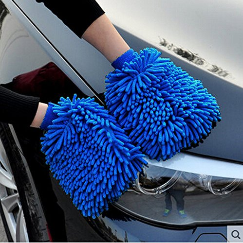 BlueCare Automotive Premium XL Car Wash Mitt - 2-Pack - Free Polishing Cloth, High Density, Ultra-Soft Microfiber Wash Glove, Lint Free, Scratch Free - Use Wet or Dry, ()