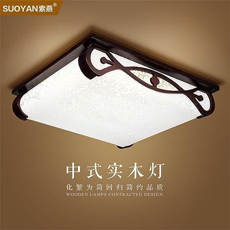 BRIGHTLLT Luz de techo de madera chinos salón farolas de madera antiguos dormitorios arte vitela restaurante