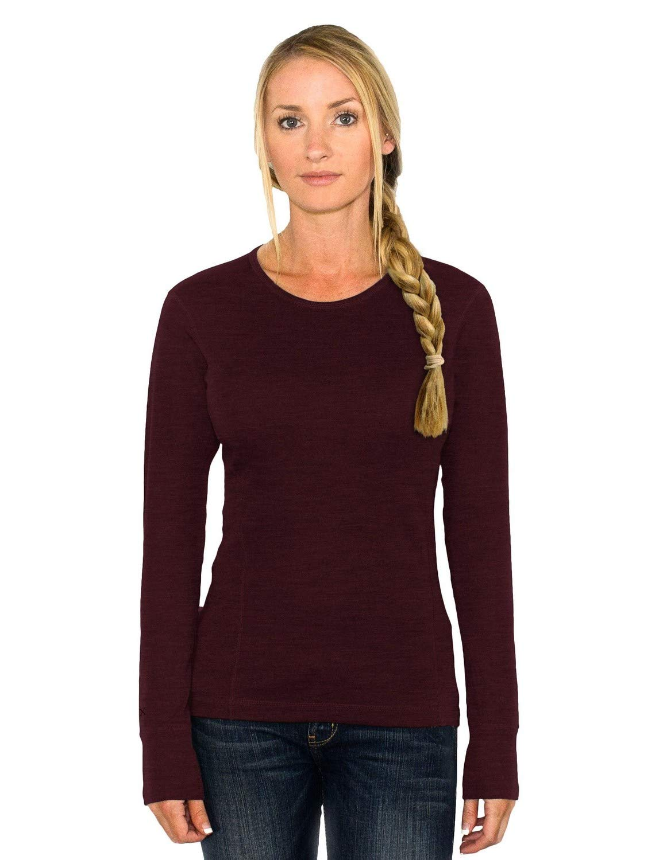 Woolx Women's Hannah Midweight Merino Wool Base Layer Shirt- Rosewood- XX-Large by WoolX