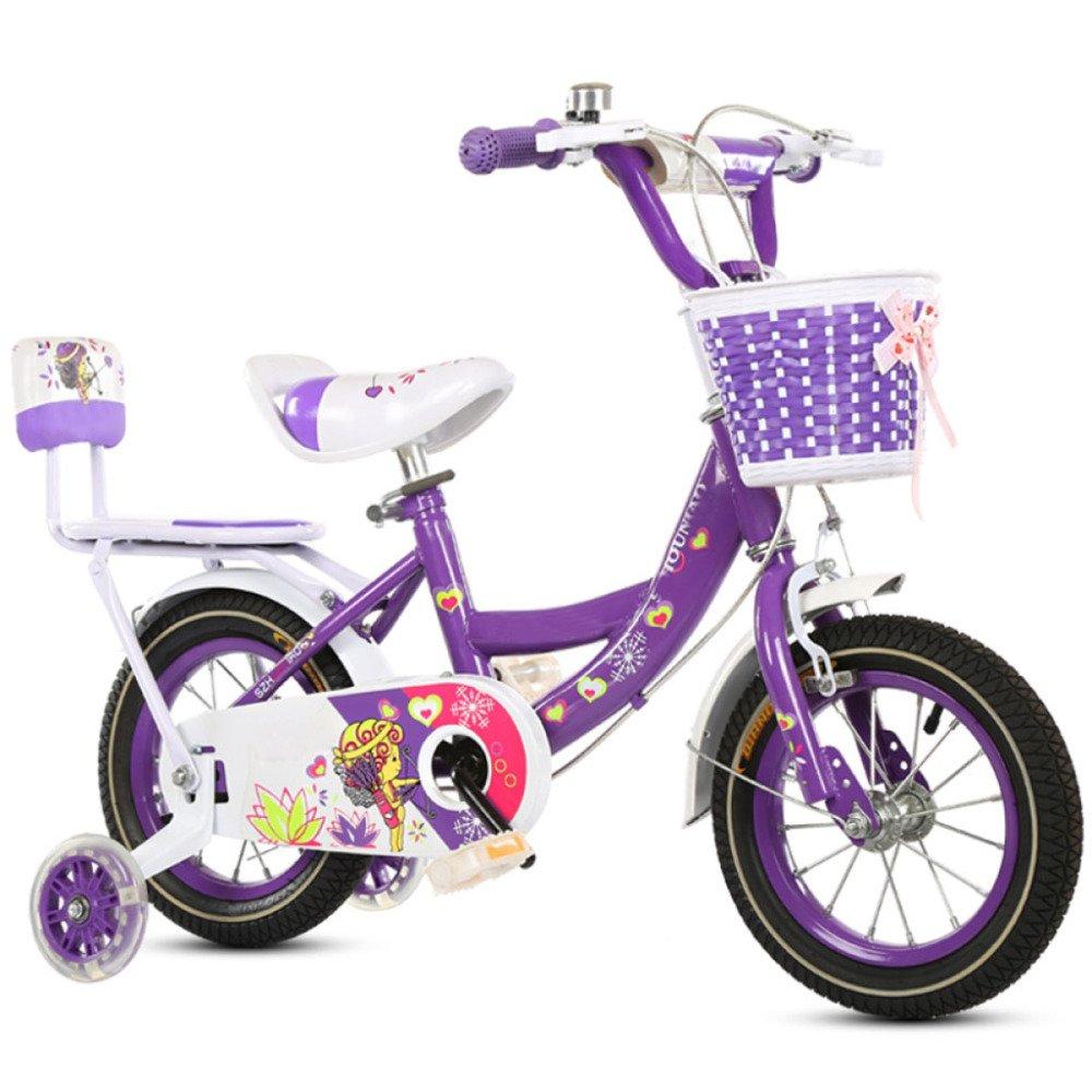 yihangg自転車for Children Boys Girls 12 /16 /18 /20インチ調節可能軽量トレーニングホイールバランスバイク 18Inches パープル B07D1NH8JL