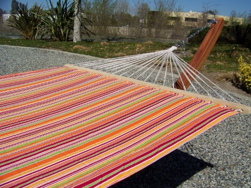 Petra Leisure 14 Ft. Teak Wooden Arc Hammock Stand + Quilted Fiesta Color, Double Padded Hammock Bed. 2 Person Bed. 450 LB Capacity