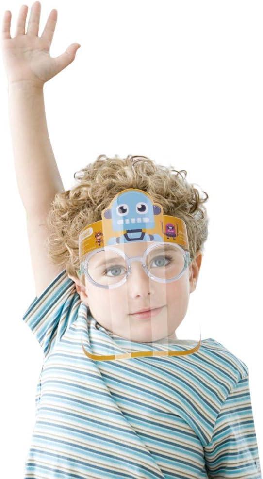 5Pcs Kids Face S̲h̲i̲e̲l̲d̲ Lightweight Transparent Safety Face Protective Full Face Covering with Elastic Band for Children