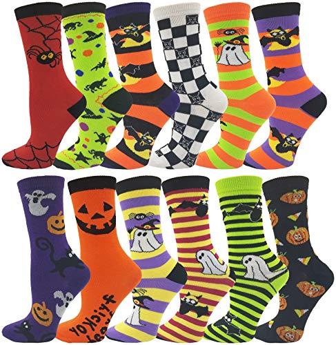 Halloween Socks, 12 Pairs Womens Girls, Novelty Cute Funny Printed Pumpkins Bats (Assorted Halloween Print (Spooky Halloween)