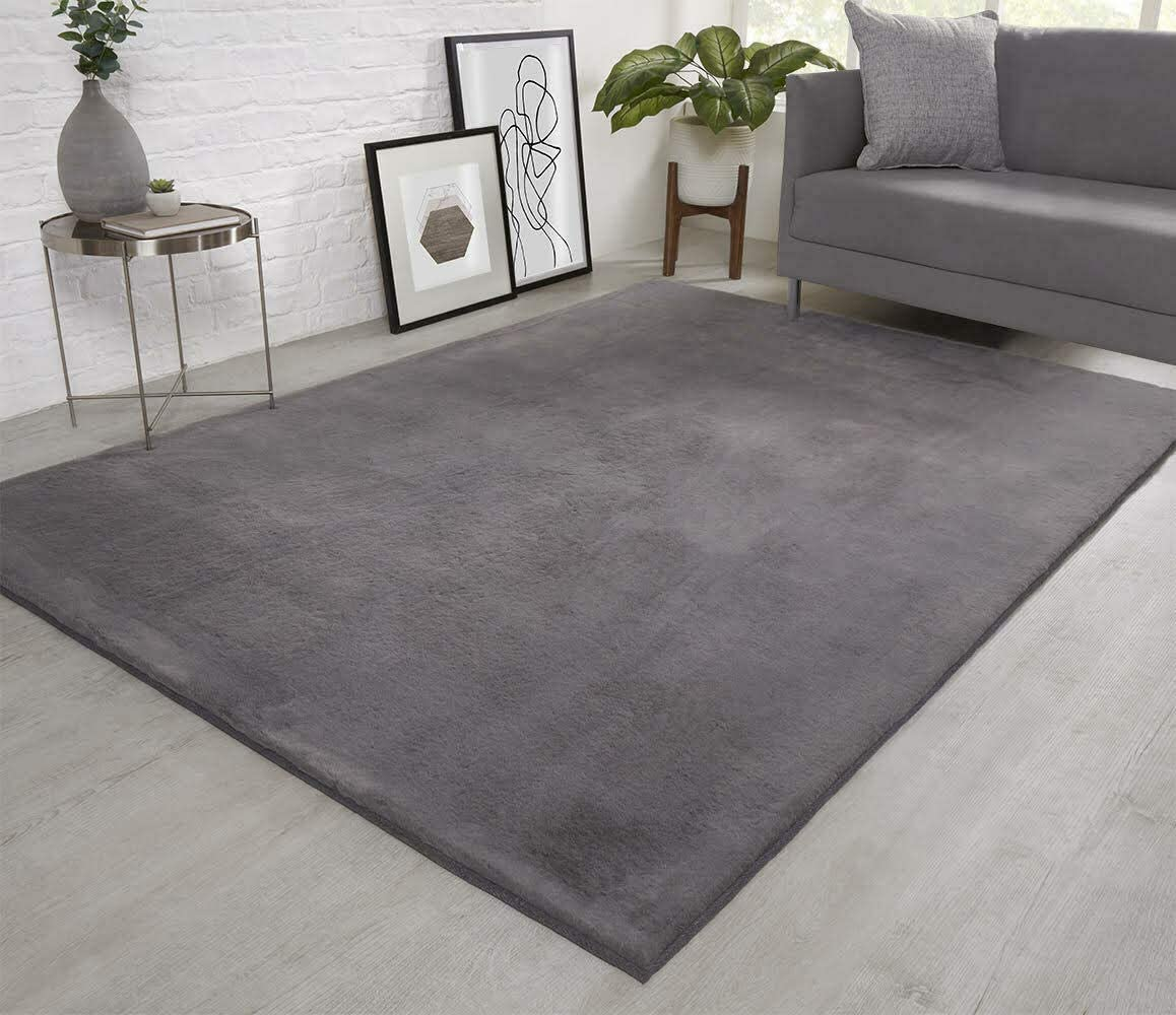 Viceroy Bedding Natural Faux Rabbit Fur Rug Ultra Soft Plush Extra Large Animal Rugs Living Room Wool Shaggy Fluffy 26mm Thick Pile Height Modern Area Rugs Grey 200cm X 290cm 6 6ft