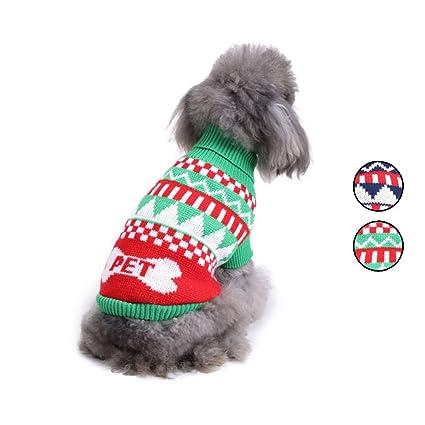 Amazon 2 Patterns Knitted Dog Sweater Weave Bone Shape Dog
