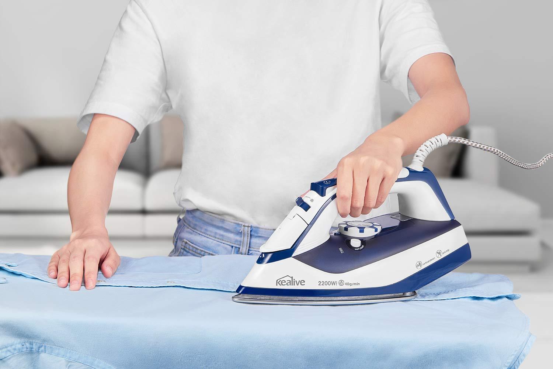 Auto Limpieza Anti-Escala Anti Goteo 40g//min vapor constante 2200W Plancha Ropa con 200g golpe de Vapor por Kealive Plancha de Vapor Placa Base de Acero Inoxidable Color Azul