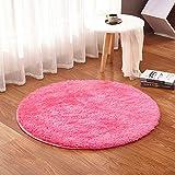 ADSRO Plush Round Mat Baby Play Mat Crawling Mat Living Room Bedroom Carpet Basket Pad Computer Chair Cushion Yoga Mat size 1 meter (rose red)