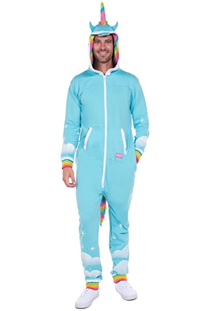 9cb5264486b1 Tipsy Elves Men s Unicorn Onesie - Unicorn Jumpsuit Halloween Costume for  Men  Small Blue
