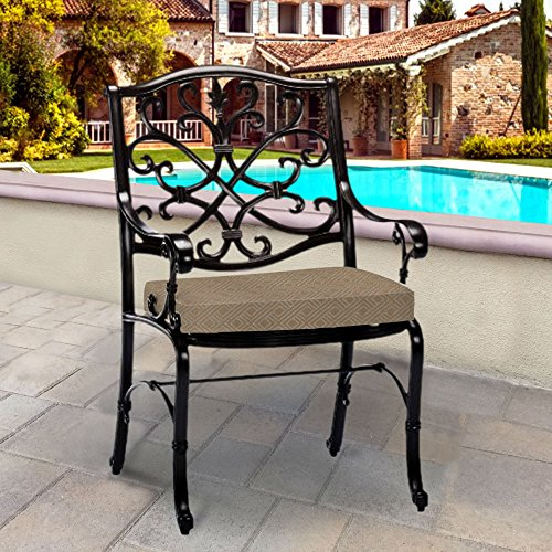 Thomas Collection Outdoor Cushions, Taupe Metallic Silver Patio Cushions, Outdoor Dining Chair Cushions, One Outdoor Patio Seat Cushion, Made in USA, 13326