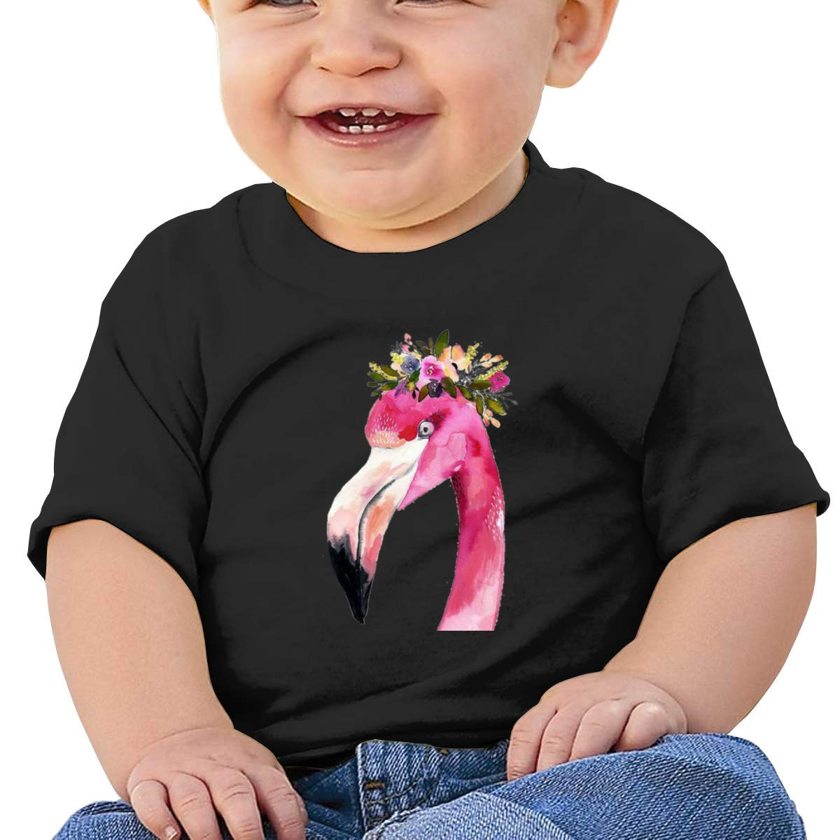 Flamingo with Flower Hat Short Sleeve Tshirts Baby Girls
