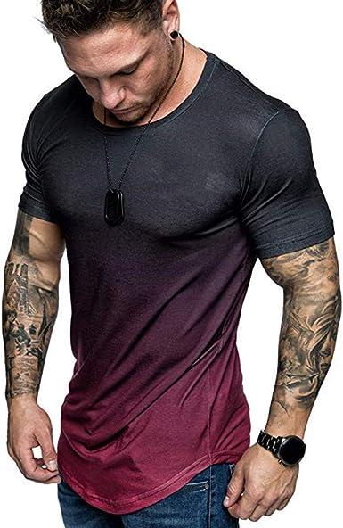 PARVAL Camiseta para Hombre en Color Degradado Camisa de Manga Corta de Gran tamaño Cuello Redondo Body-Fit Camiseta con diseño de Cascada Camiseta de Verano Cuello Redondo R-0037: Amazon.es: Ropa y accesorios