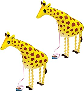 SUSHAFEN 2 Pcs Giraffe Walking Animal Balloons Inflatable Animal Balloons Toy Ballons Kids Farm Animal Theme Birthday Party Supplies Home Garden Decorations