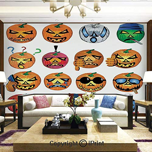 Mural Wall Art Photo Decor Wall Mural for Living Room or Bedroom,Carved Pumpkin with Emoji Faces Halloween Humor Hipster Monsters Art,Home Decor - 100x144 inches
