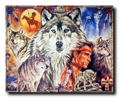 Native American Wall Decor Indian Brave with Wolf Art Print Poster (16x20)