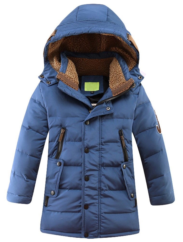 Mallimoda Big Boy's Hooded Bubble Jacket Heavyweight Solid Puffer Coat Deep Blue 13-14 Years
