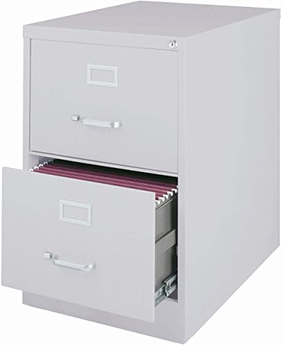 Hirsh Industries 25 Deep Vertical File Cabinet 2-Drawer Legal Size, Light Gray, 14414