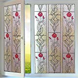 OstepDecor Red Rose Static Cling Privacy Decorative Window Films 23.6'' x 78.7''