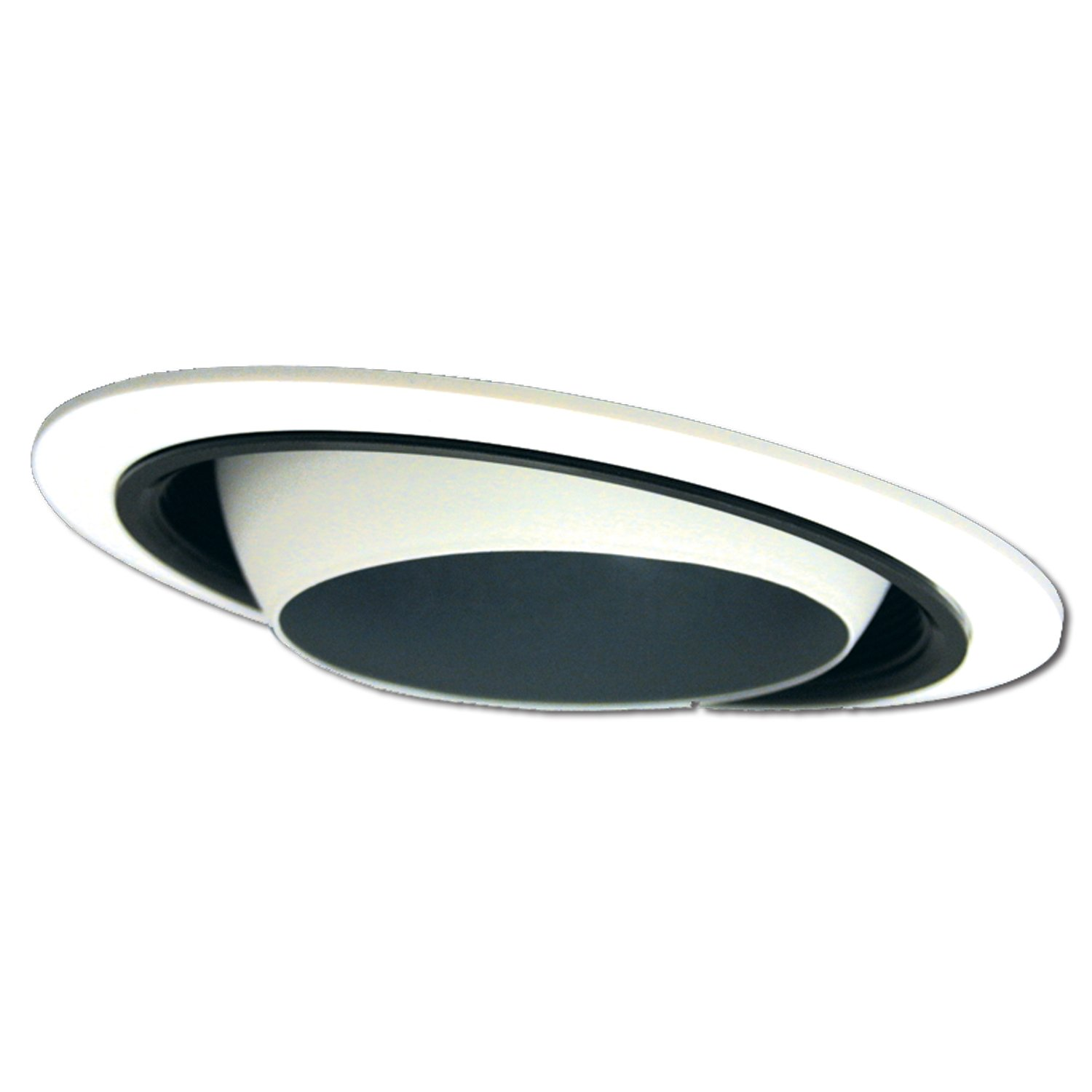 HALO Recessed 420P 6-Inch Regressed Trim with Eyeball and Black Baffle, White