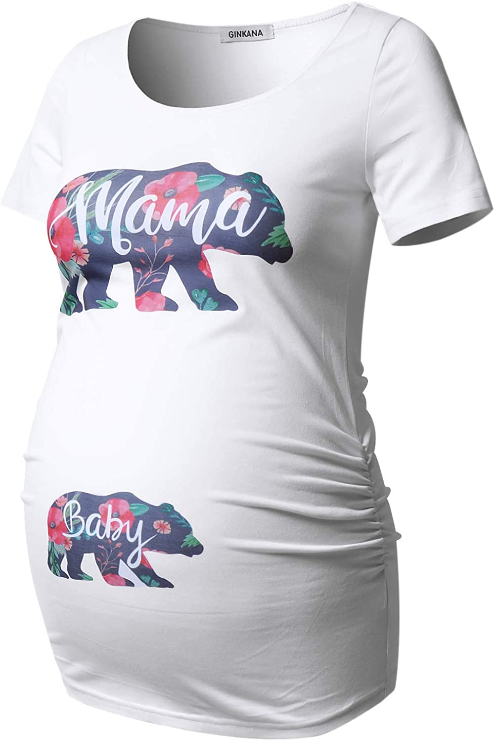 GINKANA Short Sleeve Maternity Tops Shirts Floral Ruched Sides Casual Mama Pregnancy Blouses Clothes