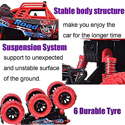 YesToys Pull Back Car Monster Trucks Toys 6 WD Off Road Vehicle with Lights and Sounds (Black): Toys & Games