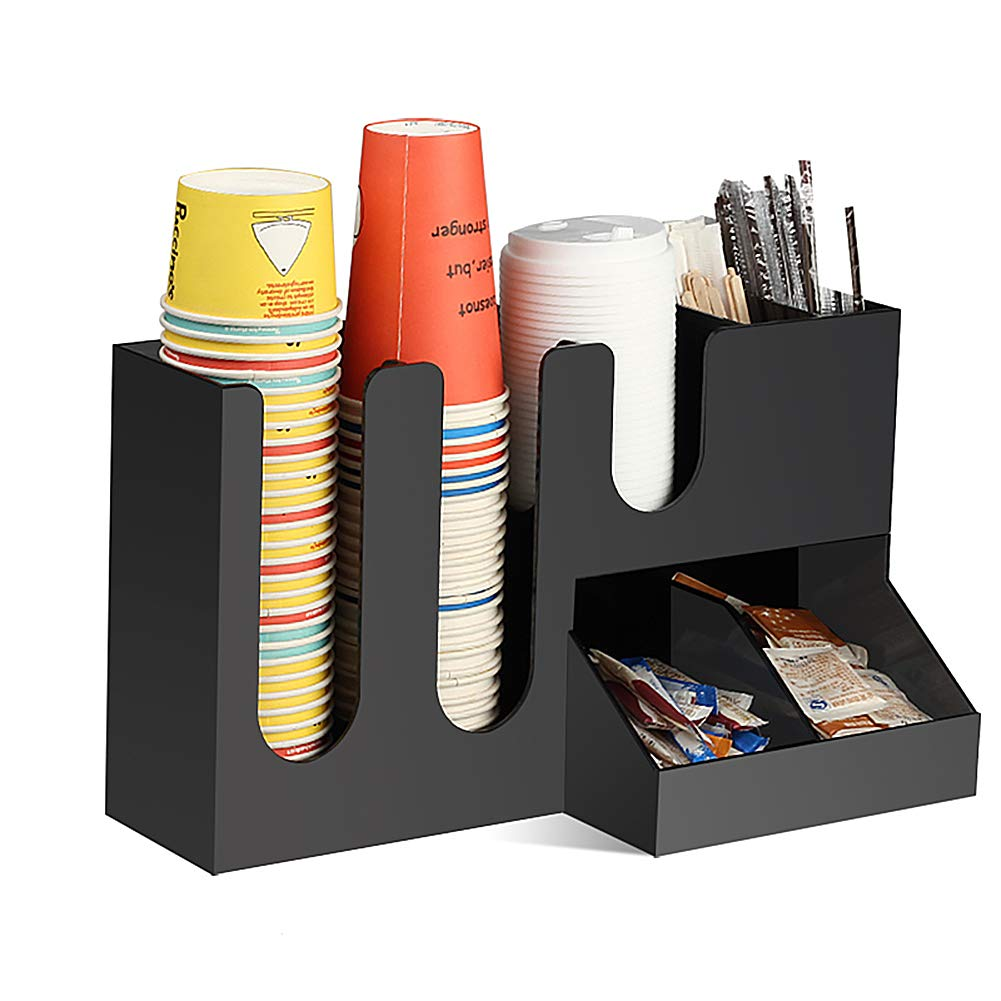HOUSHIYU-521 7 Compartment Coffee Condiment Organizer Caddy Tray, Arylic Material, for Home Table, Office and Breakroom