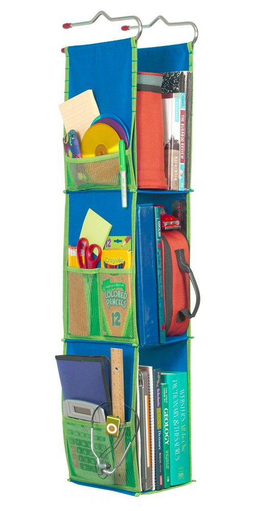 LockerWorks 3 Shelf Hanging Locker Organizer, 22-38 Inches Tall, Side Pockets, Suspends from Hooks, Shelf, or Closet Rod - Royal Blue/Green