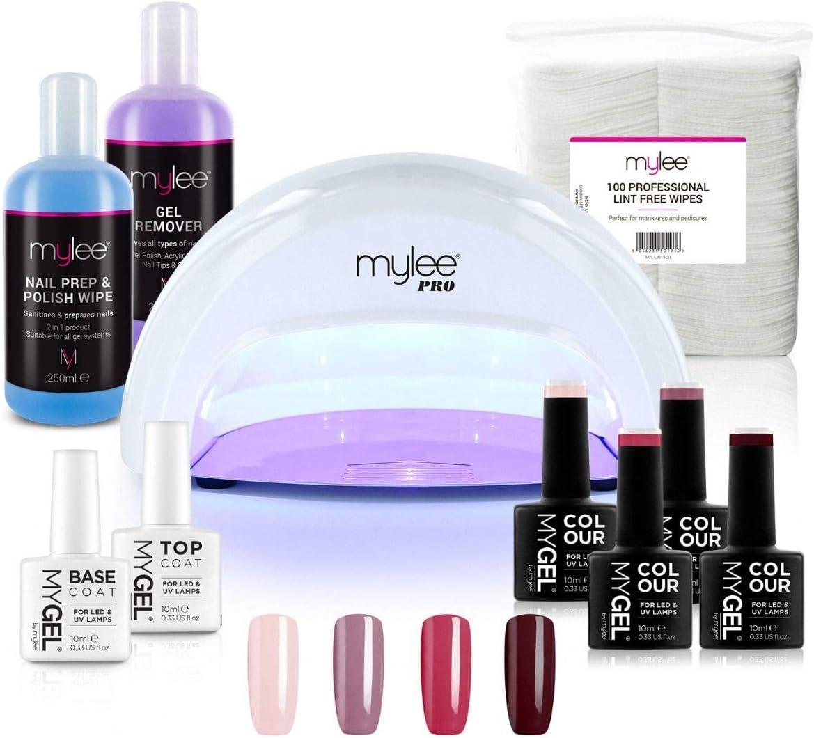 Kit Profesional LED Mylee para barniz de uñas, 4x colores MYGEL, capa superior e inferior, lámpara LED de curado convexo Mylee PRO Series, Prep & Wipe, removedor de gel (Blanco)