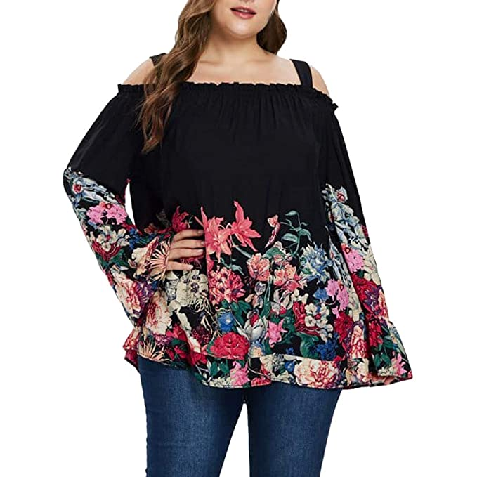 NUWFORWomen Plus Size Chiffon Flare Sleeve Floral Print Cold ...
