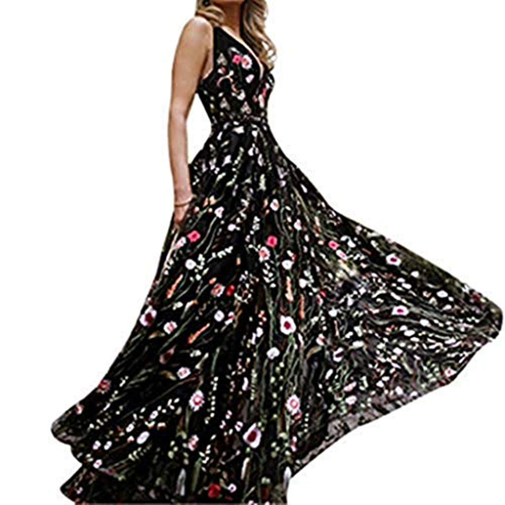 Sharemen Women's Formal Dress Flower Embroidery Prom Party Dress Elegant Long Evening Gown (Black,M)