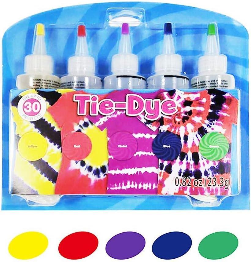 Kit de 5 colores Tie-Dye Tintes de ropa de algodón y lino, Kit Tie-Dye, Kit de tinte DIY Fashion