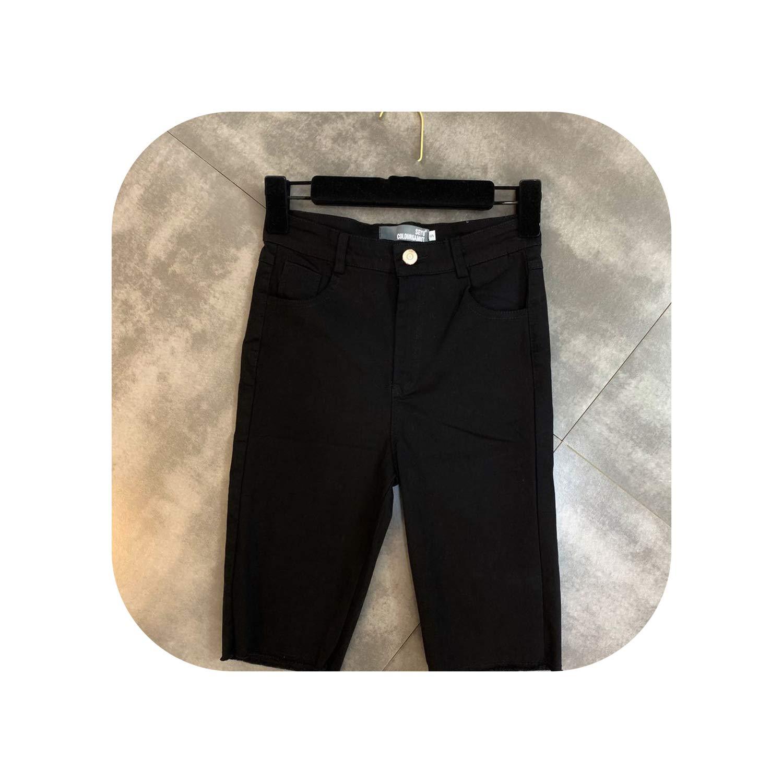 Black Snake Printed Women Half Length Shorts High Waist Black White Cotton Shorts,
