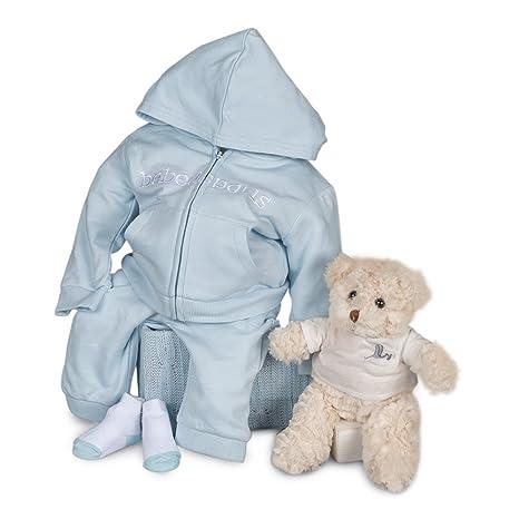Canastilla regalo bebé en caja Happy Sport con chandal y Osito de BebeDeParis-Azul- Talla 6 meses- 100% algodón- caja regalo recién nacido