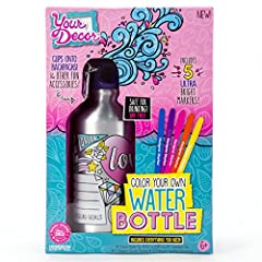 With the your decor color your own water bottle kit you can stay hydrated in style! The your decor water bottle allows you to express your style by decorating your own BPA-free water bottle with markers, gemstones and glitter. Included carabi...