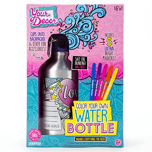 Your Décor Color Your Own Water Bottle by Horizon Group USA, DIY Bottle Coloring Craft Kit, BPA Free, Markers & Gemstones Included, Multi Colored -