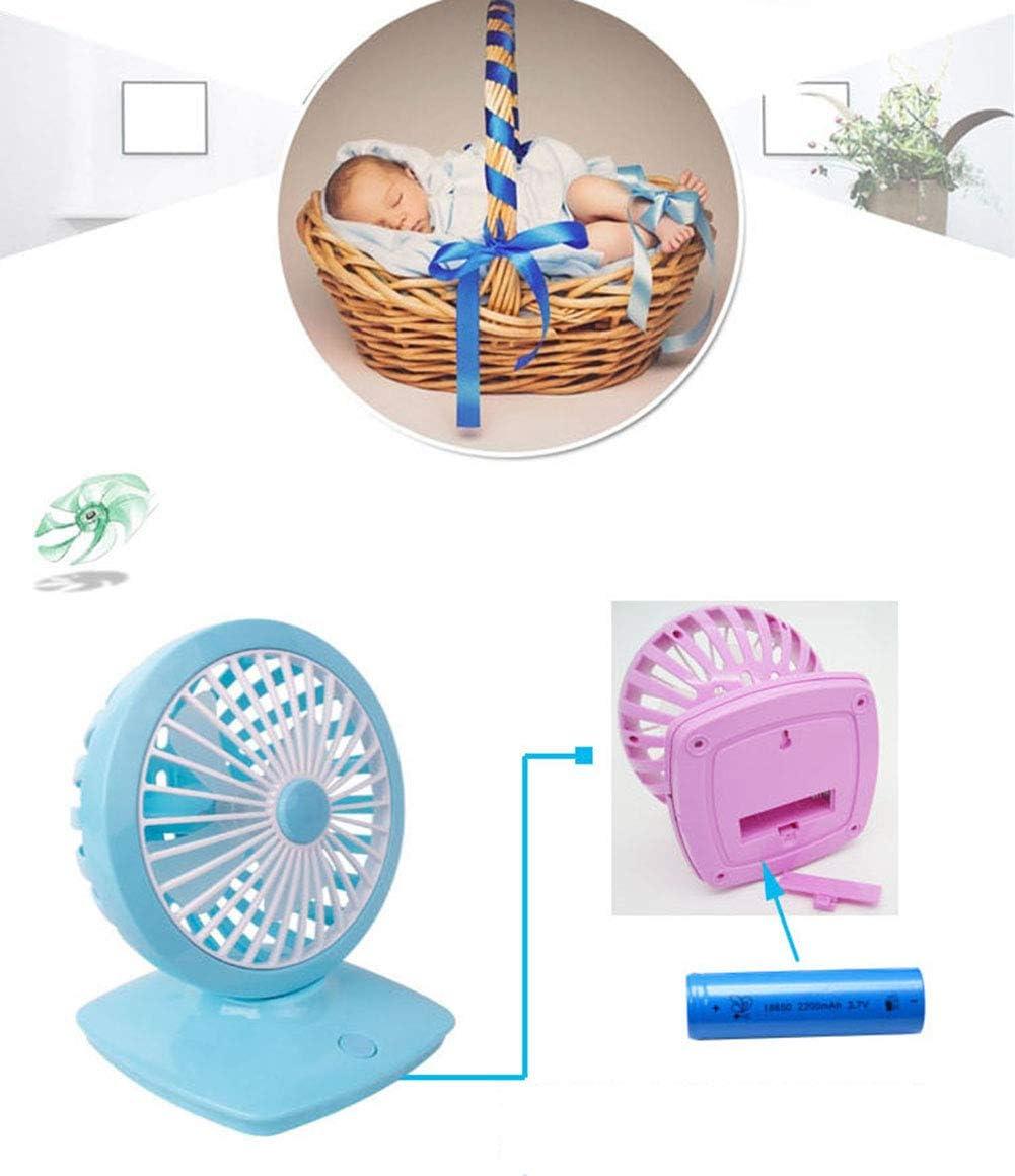 Suitable for Travel//Camping//Home//Office,Blue OMJNH Desktop Fan Desktop USB Rechargeable Portable Child Student Summer Essential