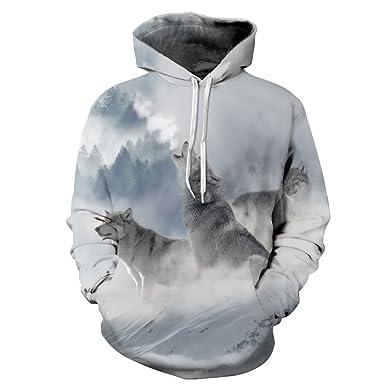 2189b17b7585 Ywfzzxs Unisex 3D Hoodies Snow Wolf Hd 3D Printed Sweatshirts Long Sleeve  Big Pockets Fleece Pullover