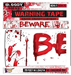 Add some scare to your party with bloody supplies. White tape with blood spatters and beware text. A fun gift for a horror lover. Won't run or bleed. Add Decorations To Customize Your Haunted House.