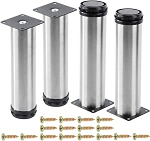 AOWESM Stainless Steel Furniture Legs Cabinet Metal Legs 2 Inch Diameter Adjustable Kitchen Feet Heavy Duty for Furniture, Cabinets, Shelves with 16 Screws (Set of 4) (8 inch/200mm, Silver)
