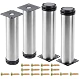AOWESM Stainless Steel Furniture Legs Cabinet Metal Legs 2 Inch Diameter Adjustable Kitchen Feet Heavy Duty for Furniture, Ca