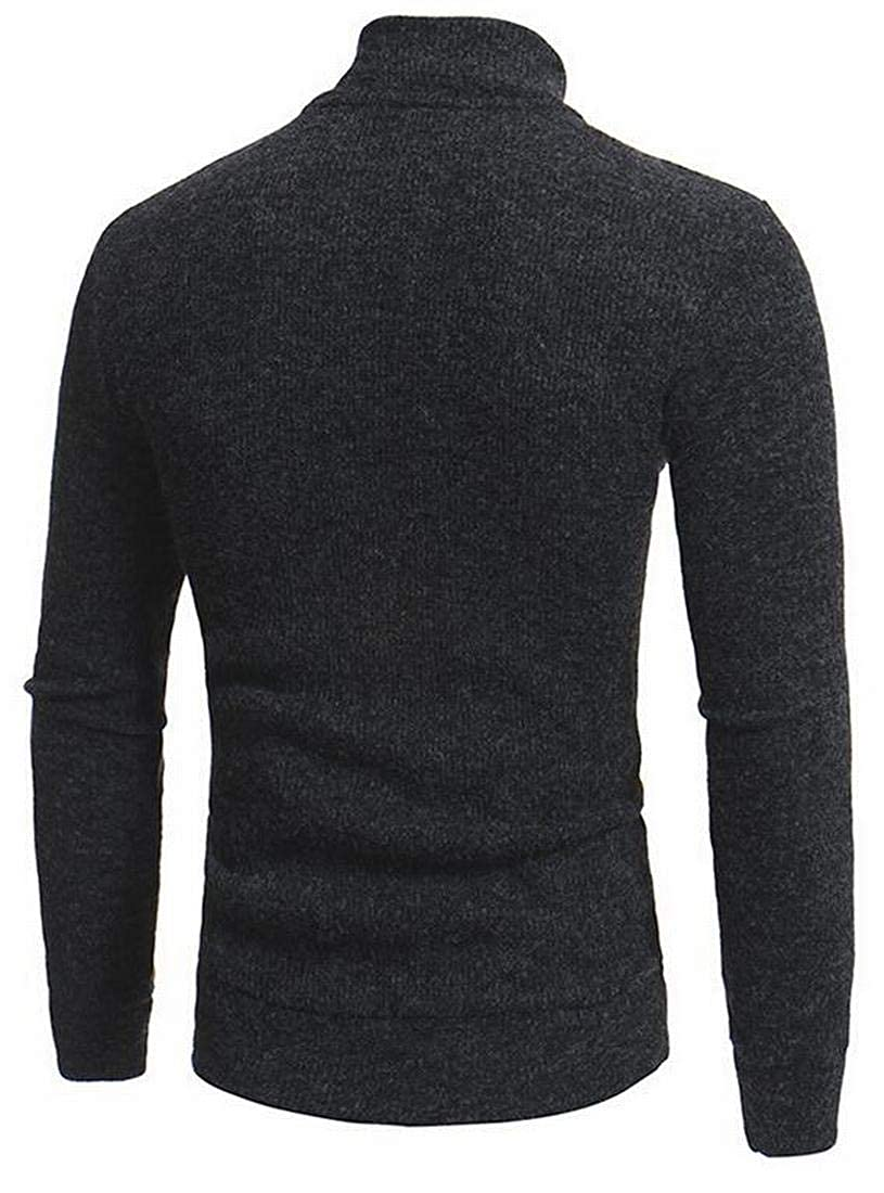 Mstyle Men Fall /& Winter Turtle Neck Slim Fit Solid Half Zip Pullover Sweater Jumper