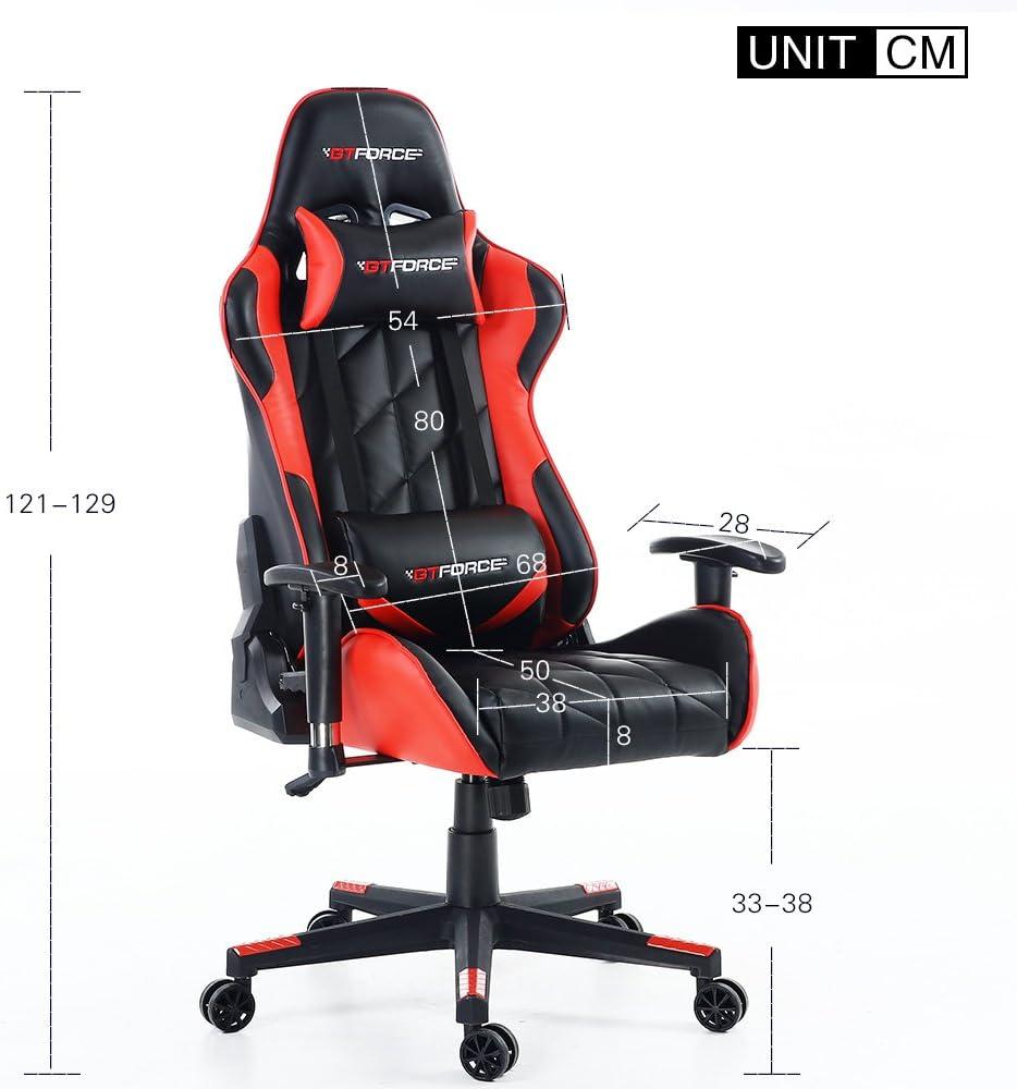 Ideal para casa y el Trabajo Cuero sint/ético Azul GTFORCE Pro GT Silla Gamer reclinable para el Ordenador