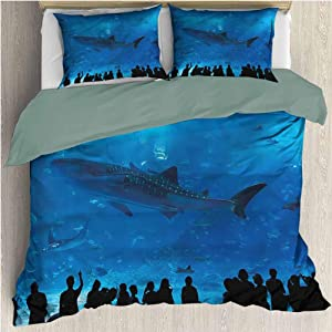 HELLOLEON Shark Pure Bedding Hotel Luxury Bed Linen Aquarium Park and People Polyester - Soft and Breathable (Full)