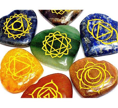 REIKI CHAKRA STONES w// Heart Chakra Pouch ~ Set of 7 Heart-Shaped Stones With Engraved Chakra Symbols by Shambala Shop