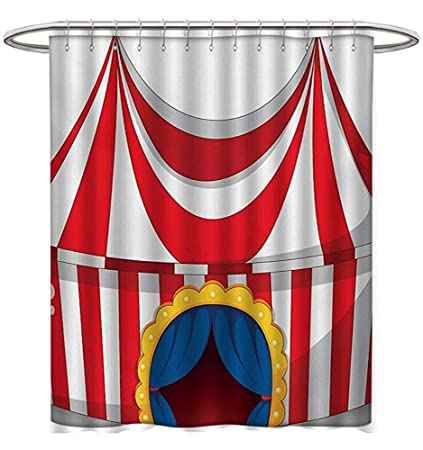 Starookc Circus Shower Curtains Mildew Resistant Illustration Retro Flag Nostalgic Fun Festival Carnival Venue Artistic
