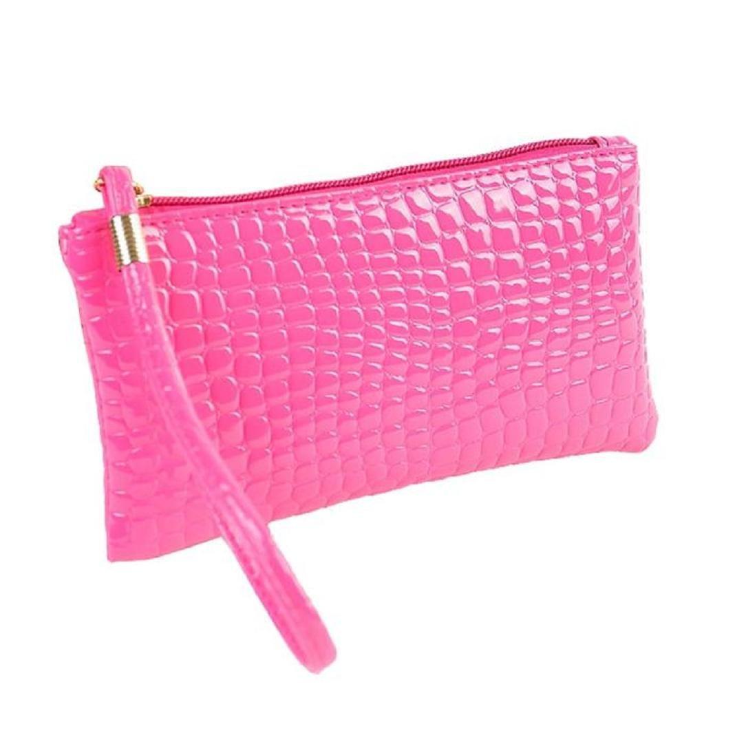 ShenPr Women Fashion Crocodile Alligator Leather Zipper Clutch Handbag Bag Coin Purse (Hot Pink)