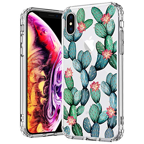 MOSNOVO Case for iPhone Xs/iPhone X, Tropical Cactus Clear Design Printed Transparent Plastic Hard Case with Soft TPU Bumper Protective Back Phone Case Cover for Apple iPhone X/iPhone Xs