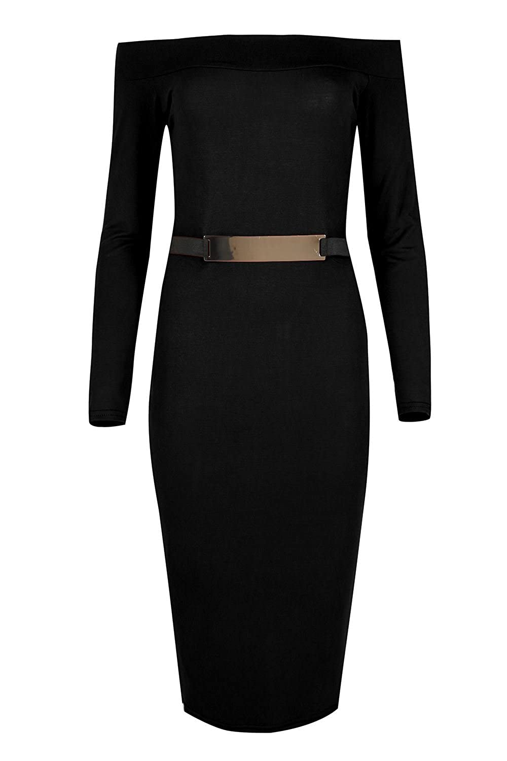 Oops Outlet Women's Off The Shoulder Gold Belted Stretchy Bodycon Midi Dress