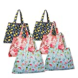 Reusable Grocery Bags,6 Pack Large Foldable Shopping Totes Heavy Duty Nylone Bags fits in Pocket for Foods Groceries