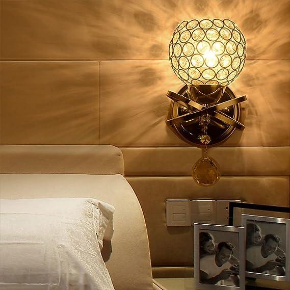 Lightess Apliques de Pared Lámpara de Pared Lámpara Cristal Adecuado para Dormitorio, Sala, Etc, Acabado Cromo Pulido